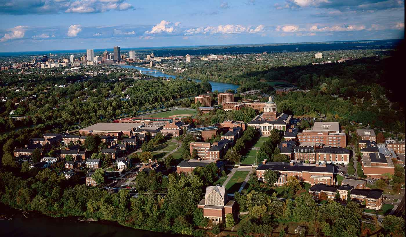 aerial view of University of Rochester and city skyline