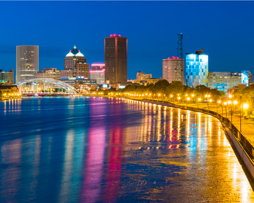 View of Rochester, NY at night