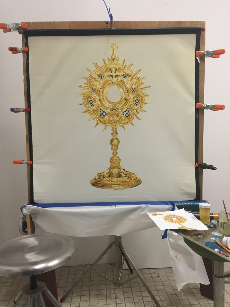 In-Process July 2016- the painting component of the sixth work in this series shows a monstrance (or ostensorium); a kneeler will block its view; it will be altered to be a vibrating chair facing the opposite direction.