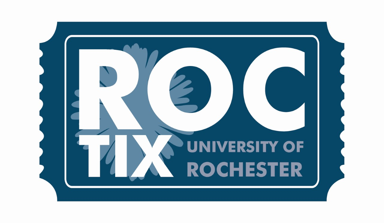 Blue Ticket with large white text reading ROC Tix University of Rochester. The O in Roc has a stylized sunflower