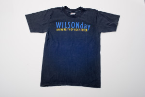 An exhibition on the history of Wilson Day—including a collection of Wilson Day T-shirts—will be on display in the University of Rochester's Rush Rhees Library this fall. In this photo, the Wilson Day T-shirt from 2006. (Photo by Brandon Vick)