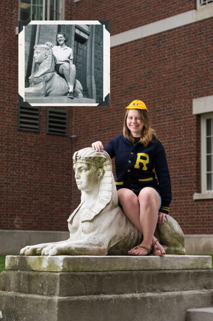 Kara King '15 wears a beanie and sweater from the University archives as she reenacts a photo of Carol Cronk Stoesen '58 posing with one of the sphinxes that used to sit at Sibley Hall on the University's former Prince Street campus. The two sphinxes now sit near the passage between Morey and Lattimore halls. (Photo by J. Adam Fenster; historic photo provided by the Department of Rare Books, Special Collections, and Preservation).