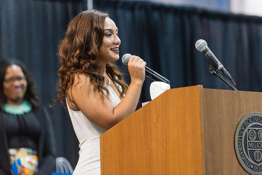 OMSA Senior Dinner Commencement Celebration in the Field House on the University of Rochester's River Campus, Rochester, NY, Saturday, May 14, 2016. In this photo, Kiara Cruz accepts the Kesha Atkins Citation for Student Leadership. Photo by Brandon Vick, University Communications, http://www.rochester.edu