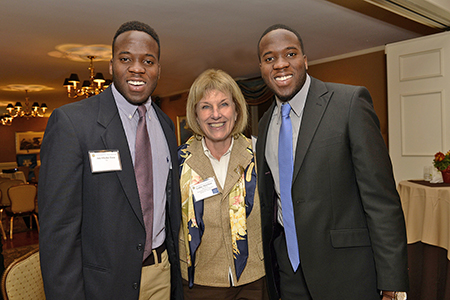 Ani Okeke Ewo '16, Trustee Cathy Minehan '68, P'04, and Ugwu Okeke Ewo '16