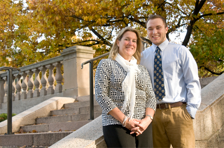 Carol Duquette '85, '03S (MBA), P'18 and her son, Sidney Duquette '18