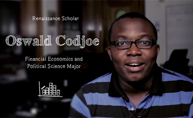 photo of student with caption OSWALD CODJOE, FINANCIAL ECONOMICS AND POLITICAL SCIENCE MAJOR