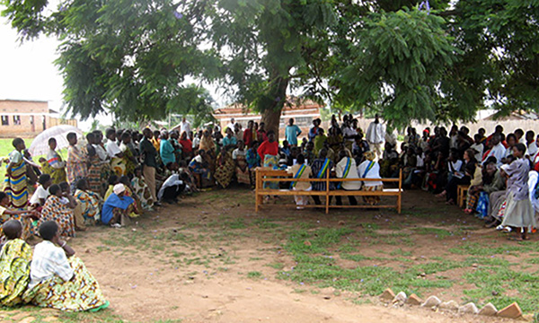 large group of people holding an outdoor court session under a tree