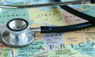 Map of Africa with stethoscope