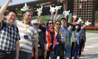 Group of parents in China stand together