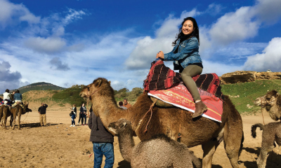 Student pictured riding camel