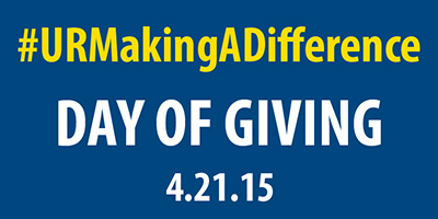 graphic reads Day of Giving April 21 2015 with the hashtag UR Making a Difference