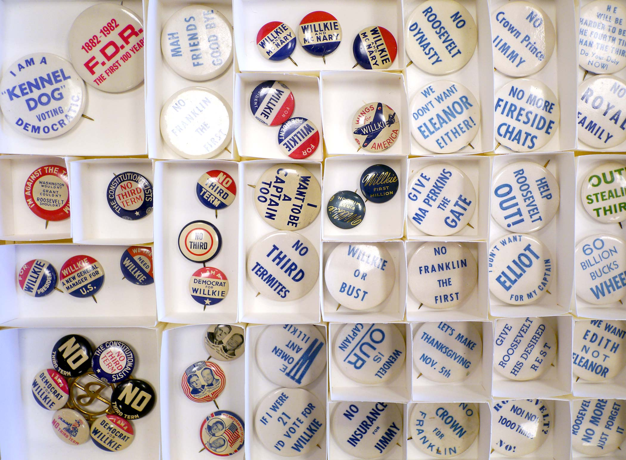 drawer full of campaign buttons
