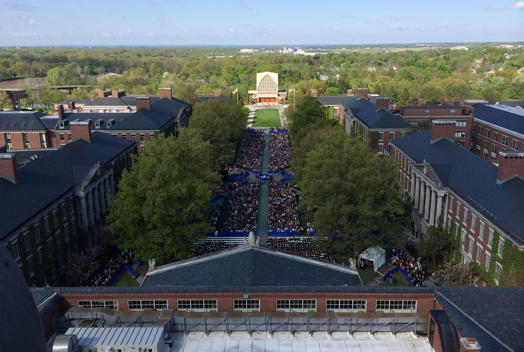 view of grads on the quad, from high up Rush Rhees tower
