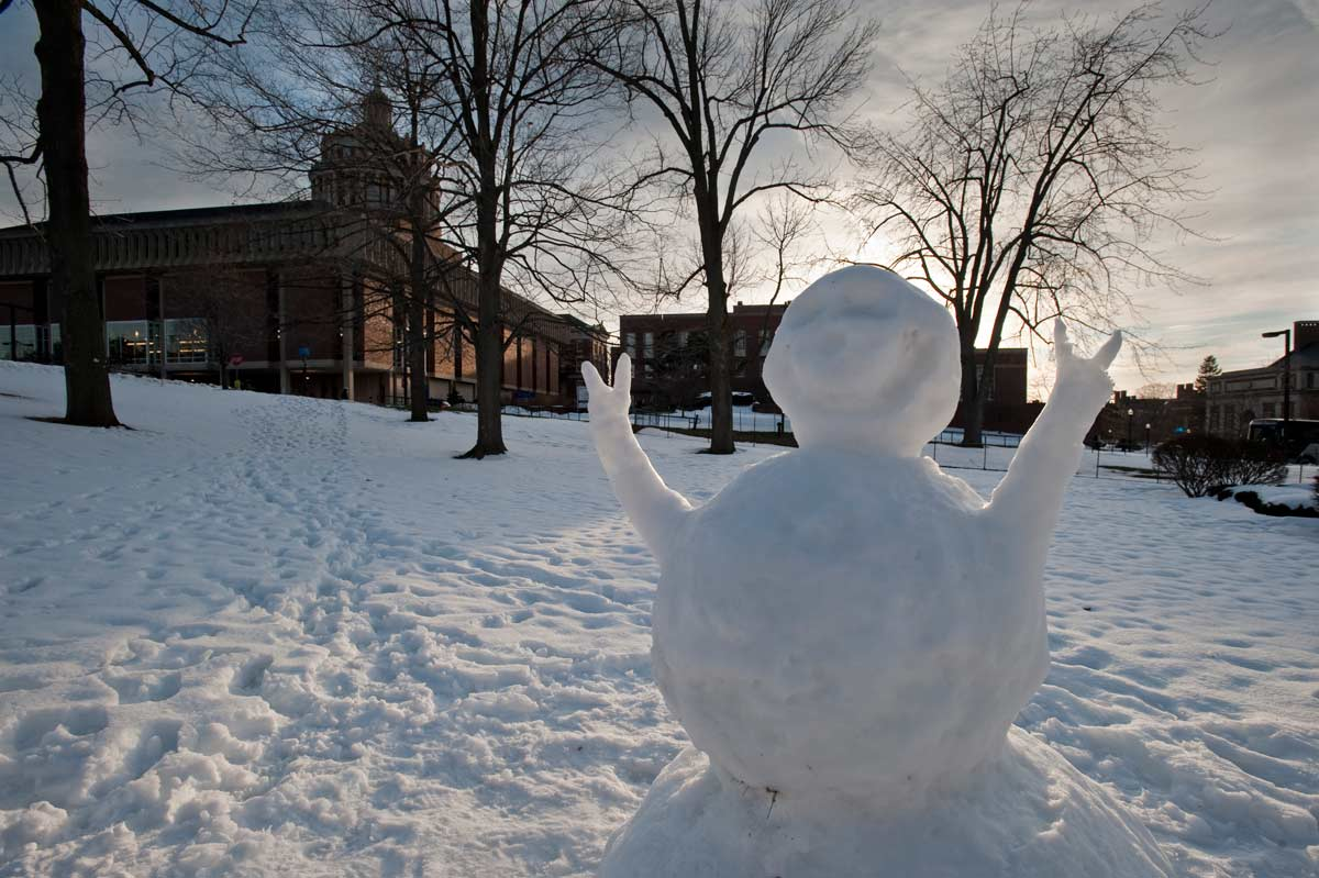 snowman on the quad