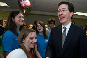 students with Stephen Colbert