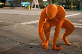 man in orange suit