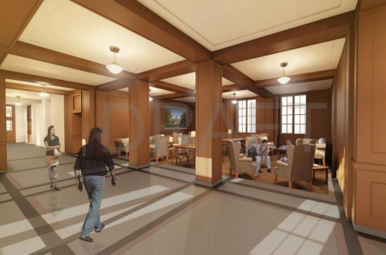 rendering of students walking in renovated building