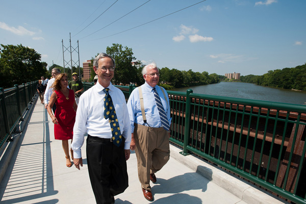 university city celebrate opening of rails to trails pedestrian  bar set up in the bank valut