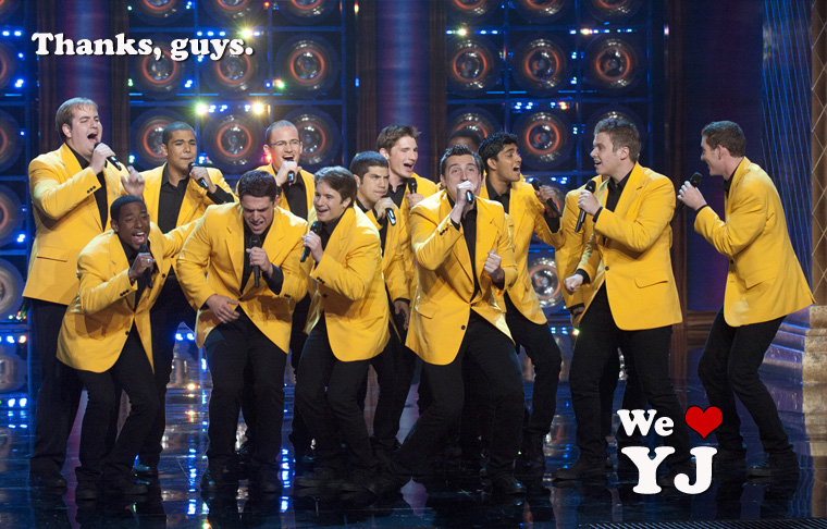 YellowJackets singing on TV stage