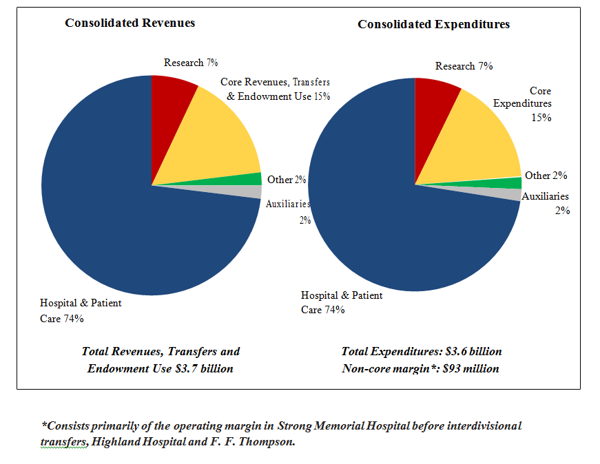 two pie charts showing consolidated revenues and consolidated expenses