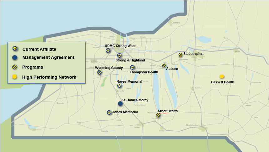 map of western New York showing locations of current affiliates, management agreements, programs, and high performing networks