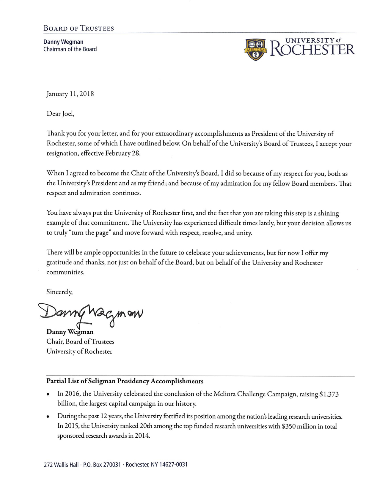 Letter from Danny Wegman, Chair of the Board of Trustees, University of Rochester