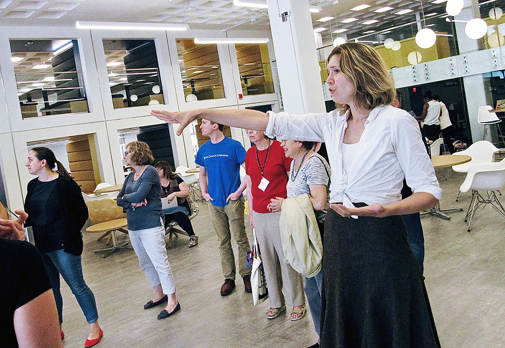Julia Maddon gives iZone visitors a tour