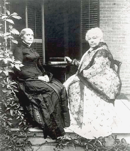 Susan B. Anthony and Elizabeth Stanton sitting on a porch