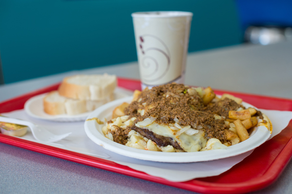 Rochester's famed garbage plate—a cheeseburger plate from Nick Tahou Hots.