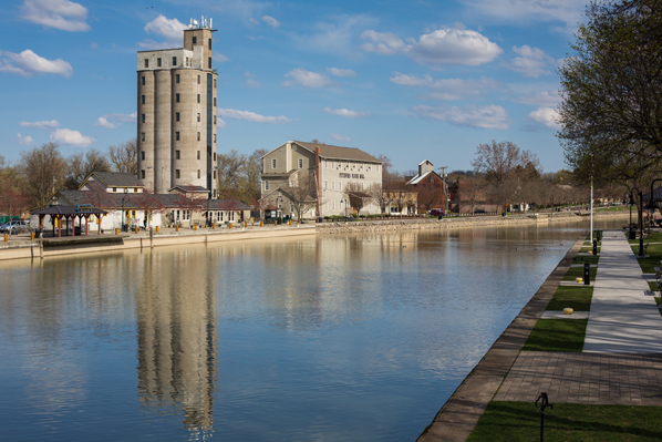 The Erie Canal is a backdrop for Shoen Place in Pittsford. The old coal tower sits among shops and eateries at the popular destination.