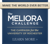 button reads Meliora Challenge: The Campaign for the University of Rochester