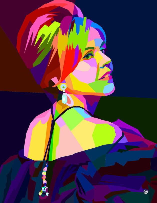 An illustration of Renée Fleming