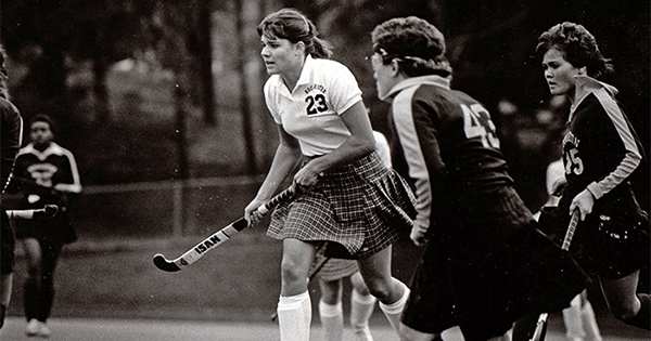 Nancy Melvin Taylor playing field hockey