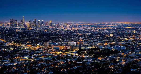 LA overhead at night