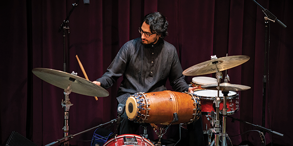 Rohan playing the drums