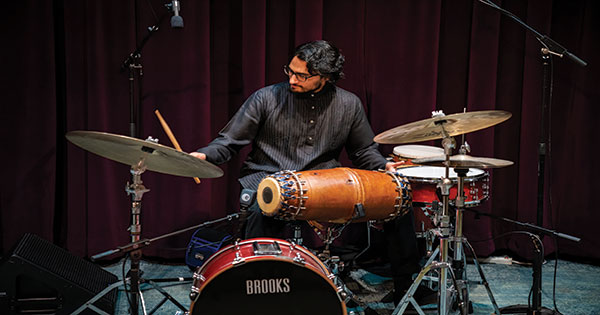 Rohan Krishnamurthy '13E (PhD) playing the drums