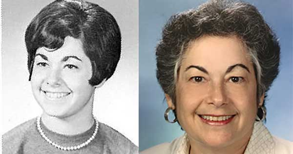 Left: Joan Steinman '69 during her University of Rochester days; Right: Joan Steinman '69 today.
