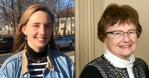 Johanna Matulonis '23 and Irene Colle Kaplan '58 headshots