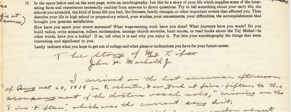 Excerpt of John Manhold's essay
