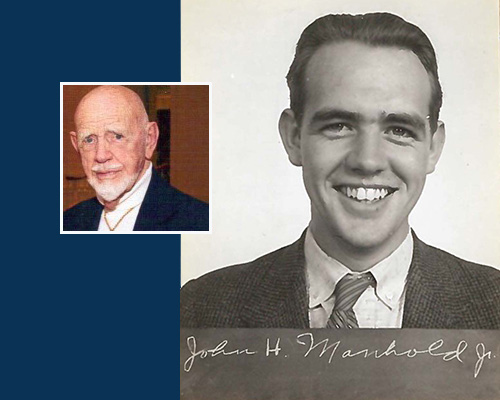 John Manhold headshot from college days and present day photo