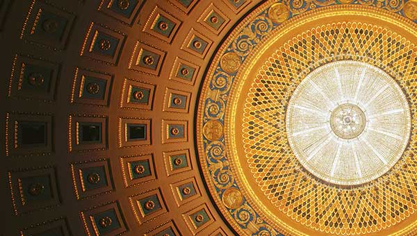 close zoom image of the eastman theatre ceiling