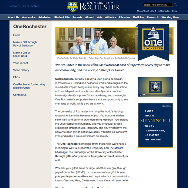 OneRochester website