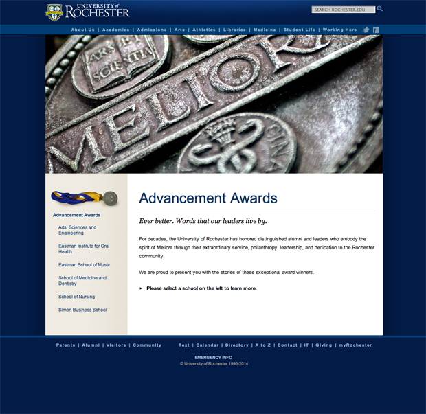 Advancement Awards website