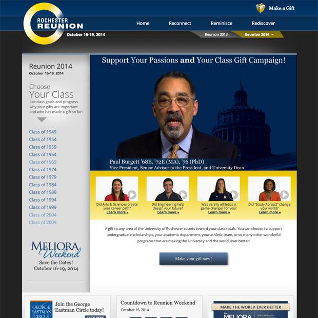 Reunion Giving website