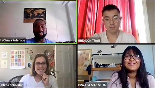 IfeOluwa Adefope '21, Brendon Tran '22, Tsion Eshetu '22, Waleed Nadeem '23, Prajita Shrestha '22, and Helena Schreder '22 in a zoom call grid