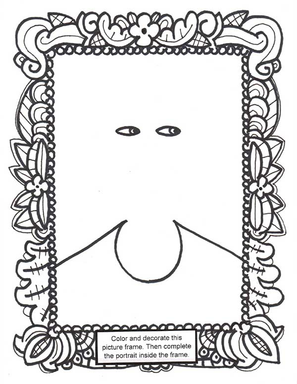 picture frame with face in the middle coloring sheet