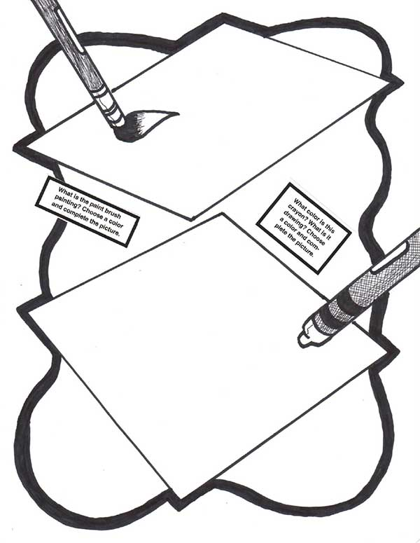 black and white coloring sheet of two envelopes with pain brushes above them