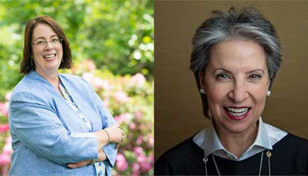 Marcia Mantell '83 and Sherry Finkel Murphy '81 posing in separate photos