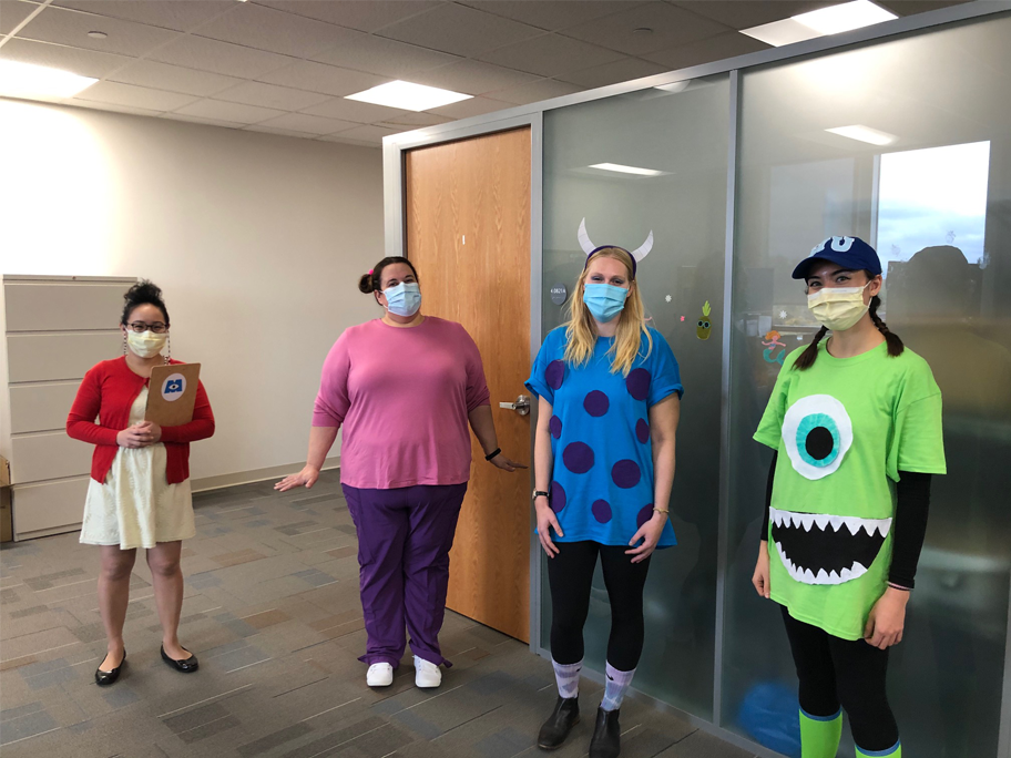 Elaine Kong, Rosie Obi and music therapy interns, Halloween 2020.