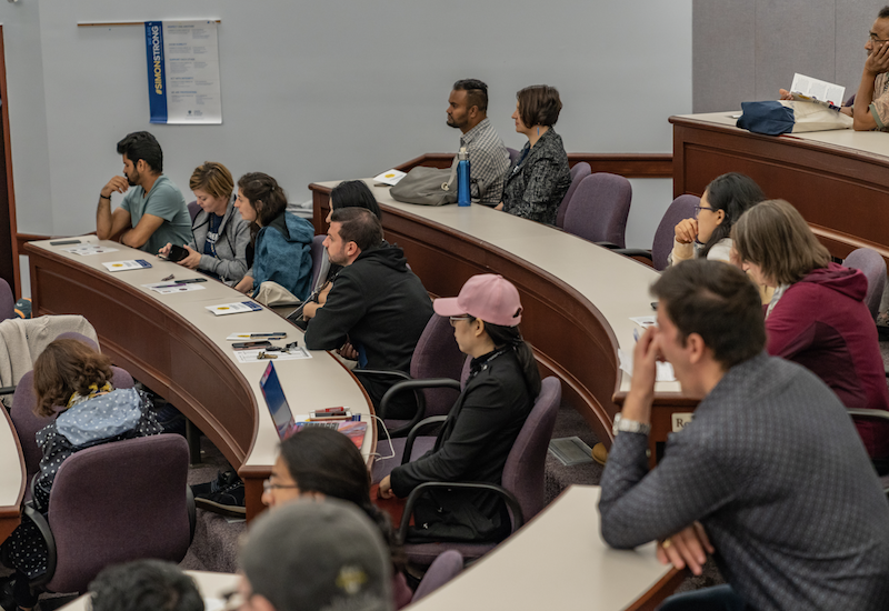 Crowd members during 2018 Meliora Weekend panel